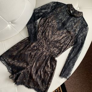 Lace and satin Bebe romper